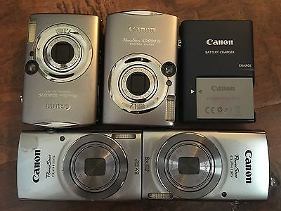 Lot of Four (4) Canon PowerShot Digital Elph Cameras ( 2x #135 & 2x # SD800iS )