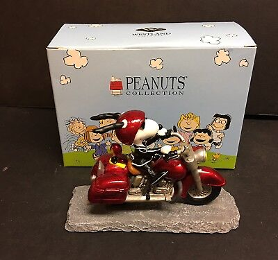 Joe Cool On Motorcycle Snoopy With Woodstock Peanuts Box Westland 8224 Figurine