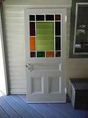 Antique Stained Glass Door Transom With Hardware