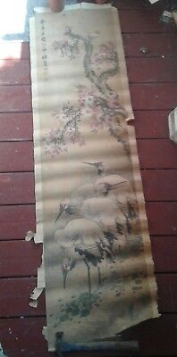 Antique Chinese scroll painting of four herons and tree with blossoms