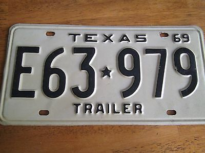 1969 TEXAS TRAILER LICENSE PLATE TAG # E63-979.  Very Nice Conditon