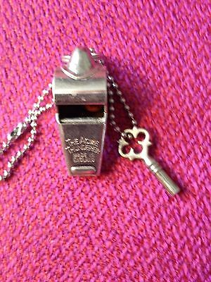Acme Thunderer Silver Tone Whistle on chain vintage Made in England, good sound