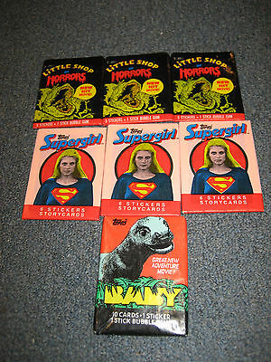 7 sealed packs of vintage trading cards from Topps