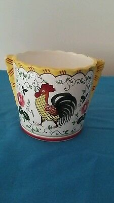 Vintage Py Roses And Rooster Ice Bucket/planter