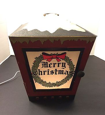 Vintage Antique Metal Christmas Lantern Electric Light Santa Tree