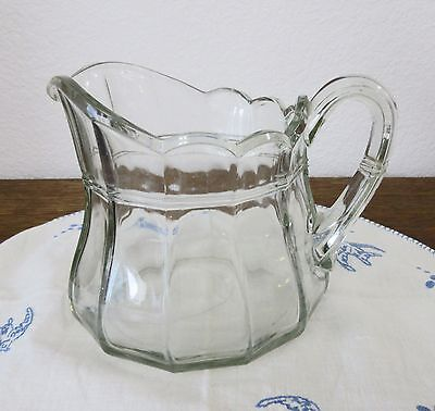 LG ANTIQUE 1800s EARLY AMERICAN BLOWN GLASS PANEL PITCHER STRETCH PONTIL,BUBBLES