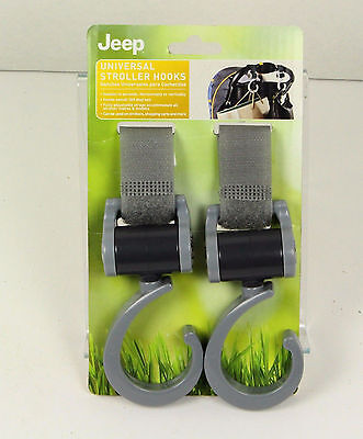 Jeep Universal Stroller Hook, Pack of 2, 360 Degree Swiveling Hooks, Grey, Baby