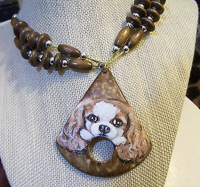 hand painted Cavalier King Charles Spaniel coconut shell  necklace earring set