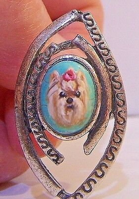 hand painted Yorkie Terrier dog turquoise silvertone  ring,one size fits most