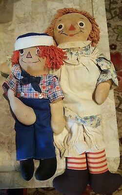 """Antique Vintage Handmade 19"""" Raggedy Ann & 13"""" Andy Two Side Dolls"""