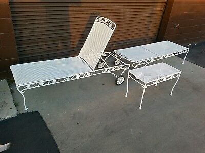 iron patio vintage woodard chaise lounges Chantilly Rose treated & painted