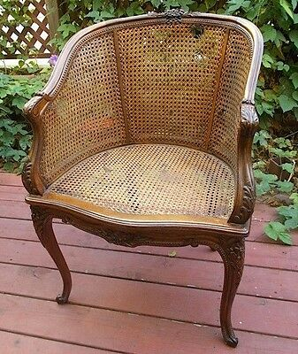 French Louis XV Bergere Caned Chair with Double Caned Sides Antique