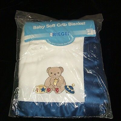Riegel White Blue Teddy Bear Acrylic Baby Crib Blanket Satin Trim Vintage NEW
