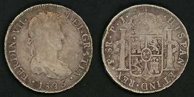 1823 Ferdinand VII Of Spain Large Silver Coin Bolivia 8 Reales Mint Mark PTS F+
