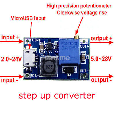 MT3608 DC-DC Voltage Step Up Adjustable Boost Power Module 2A 2~24V to 5~28V US
