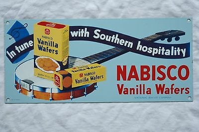 "Excellent 1990 Porcelain Sign Nabisco Vanilla Wafers 6¼"" x 14"""