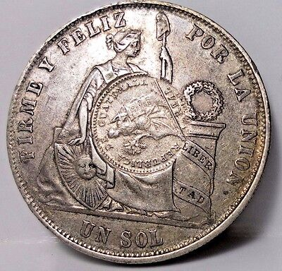 1870 Perú Un SOL Counter Stamped Guatemala 1894 1/2 Real Circulated Coin