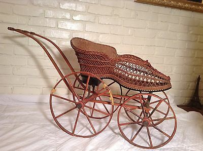 "Antique Victorian Wicker Baby/Doll Carriage Buggy ""Shoe Shaped"" Very RARE"