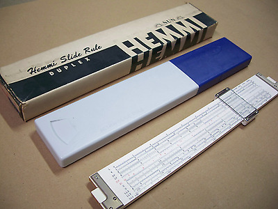 Sun Hemmi No. 255D slide rule, with plastic case and cardboard box