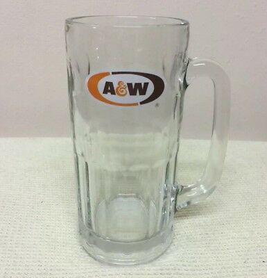 Rare VTG A & W ROOT BEER MUG Heavy Glass Big 7 Inches Tall • Excellent Condition