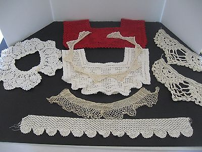 Lot of vintage antique collars handmade lace crocheted collars trim pieces 8PCS