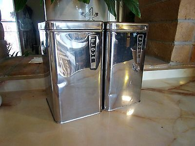 """2 Vintage """"lincoln Beautyware"""" Stainless Steel Canisters"""
