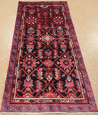 PERSIAN NAHAVAND Tribal Hand Knotted Wool NAVY RED Oriental Rug RUNNER 3 x 7