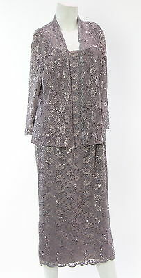 New With Tags ALEX EVENINGS Lavender 2 Piece Dress With Blazer Size 14