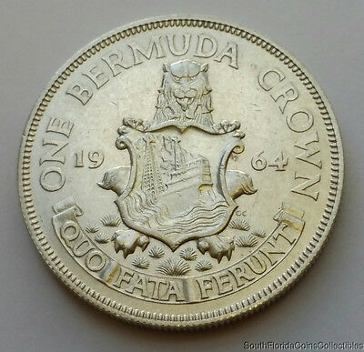 1964 Bermuda 1 Crown .500 Silver Coin .3636 ASW