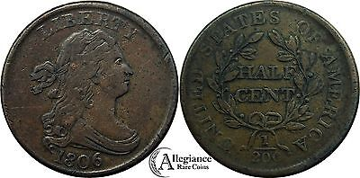1806 1/2c Draped Bust Half Cent EF XF rare old coin SMALL 6 NO STEMS stemless