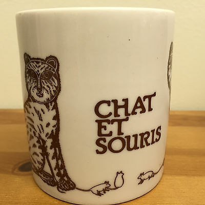 Vintage 1979 Taylor & NG Brown CAT & MOUSE CHAT et SOURIS MUG JAPAN