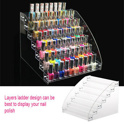 Clear Lip Gloss Nail Polish Makeup Cosmetic Display Rack Holder Case 2-7 Tiers E
