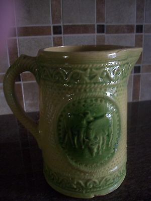 "Vintage 7 1/2"" Hull Green & Beige Salt Glazed Yellow Ware Pitcher With 2 Cows"
