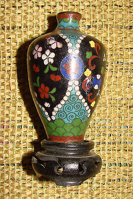 Small Antique Japanese Cloisonne Vase With  Wood Stand