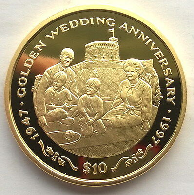 Liberia 1997 Queen Family 10 Dollars Gild Silver Coin,Proof