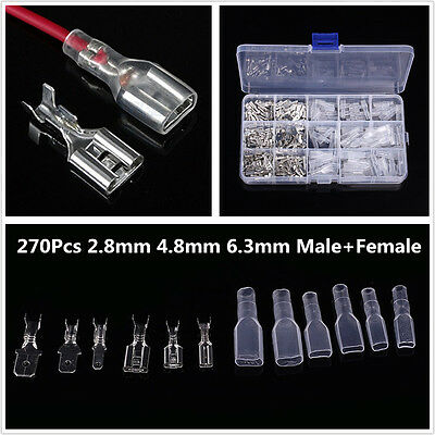 270x Male Female Spade Connector Wire Crimp Terminal 2.8mm 4.8m 6.3mm Assortment