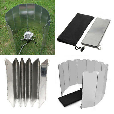 10 Plates Aluminum Foldable Burner Outdoor Camping Cooking Gas Stove WindShield