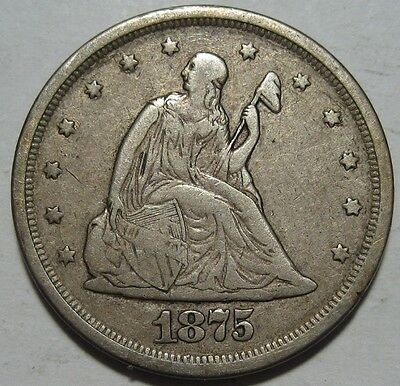 = 1875-S VF/XF TWENTY Cent PIECE, Nice Details & EYE Appeal, FREE SHIPPING