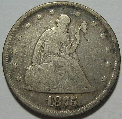 = 1875 TWENTY Cent PIECE, CLEANED, Lower Mintage, FREE SHIPPING
