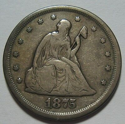 = 1875-S FINE/VF TWENTY Cent PIECE, Nice Details & EYE Appeal, FREE SHIPPING