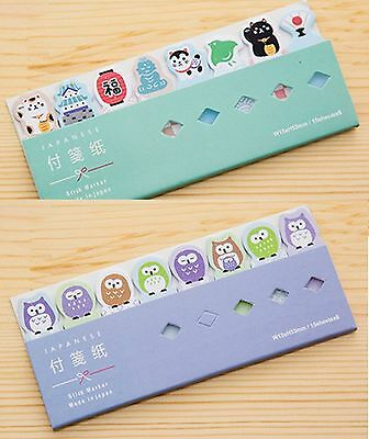 Cute Post it Marker Note Sticker Stationery- Japanese Lucky Cats & Owls(2 packs)