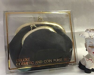 "Vintage DELUXE COSMETIC & COIN ""KISS LOCK"" PURSE SET-Hong Kong- New Old Stock"