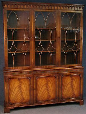 Reprodux Bevan Funnell Georgian Style Flame Mahogany Library Bookcase / Cabinet