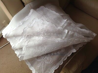 Vintage. Wedding. Embroidered Table Cloth, Beautiful.