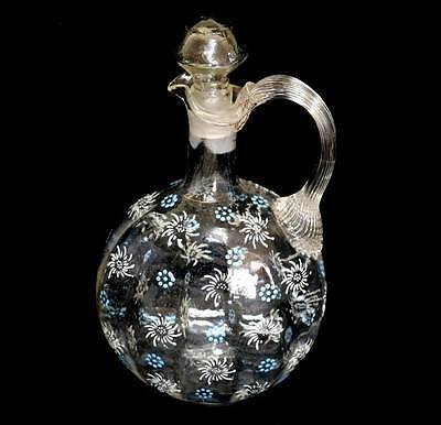 Antique Victorian hand blown floral enamelled decanter with stopper 24cm