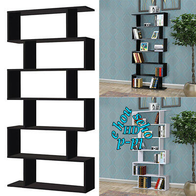 White/ Black Bookcase Wall Bookshelves Shelving Unit Large Tall 6 Shelf Bookcase