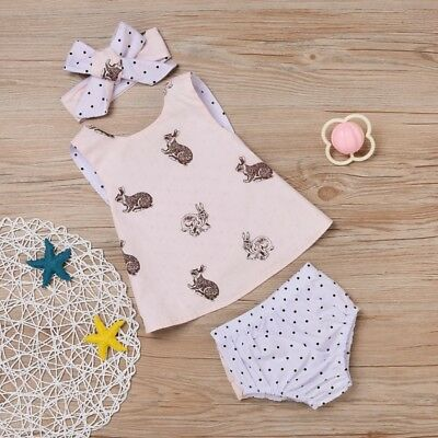 AU 3PCS Newborn Baby Kids Girl Top Shirt+PP Pants+ Headband Set Outfits Clothes