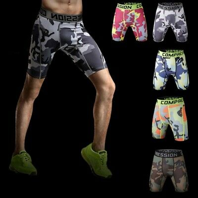 AU Mens Compression Shorts Tights Base Layer Skins Camo Pants Fitness Sports