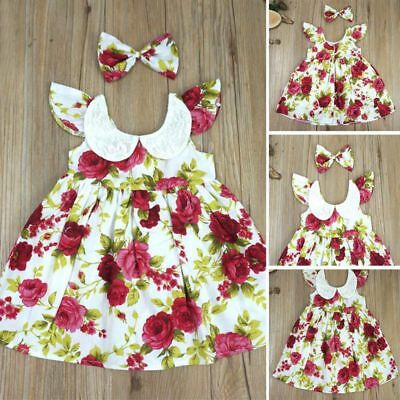 AU Toddler Kids Baby Girl Floral Bowknot Party Princess Beach Dresses Sundress