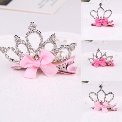 AU Baby Girl Hair Clip Rhinestone Crystal Princess Crown Bowknot Ribbon Headband